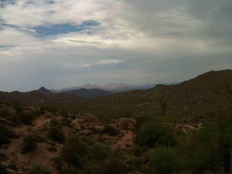 A little cloudy, but this is the view from the backside of the mountain - the eastern part of the trail.