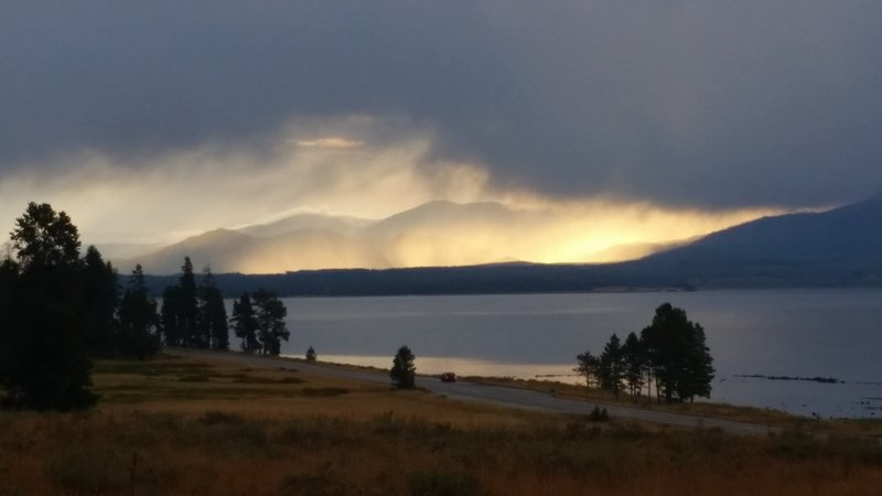 Yellowstone Lake looks brilliant in evening's fading light.