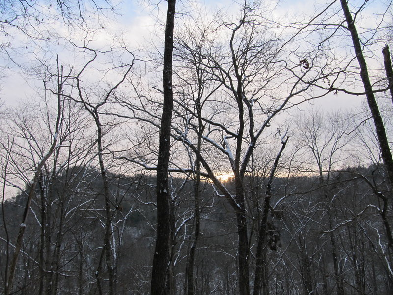 The sun rises over the forested hills surrounding the Sheltowee Trace.