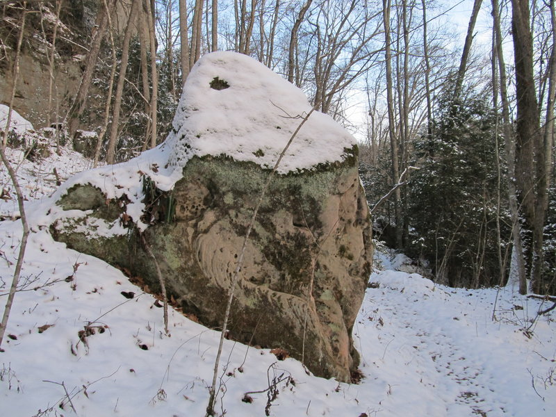 A large boulder rests beside the trail.