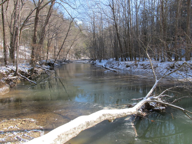 Gladie Creek is quiet and peaceful during the winter.
