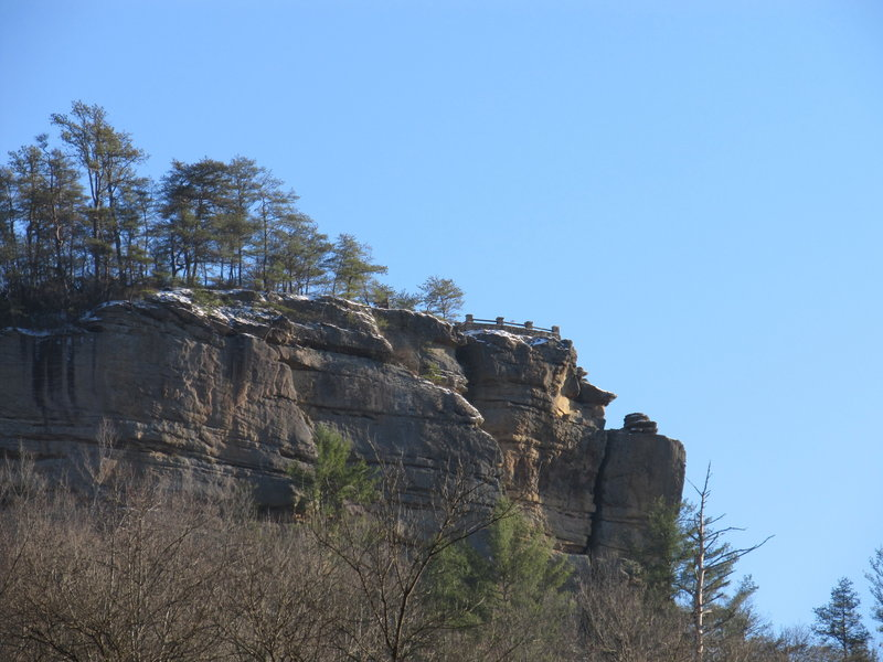 Chimney Top greets visitors from across the Sheltowee Trace on the Red River.