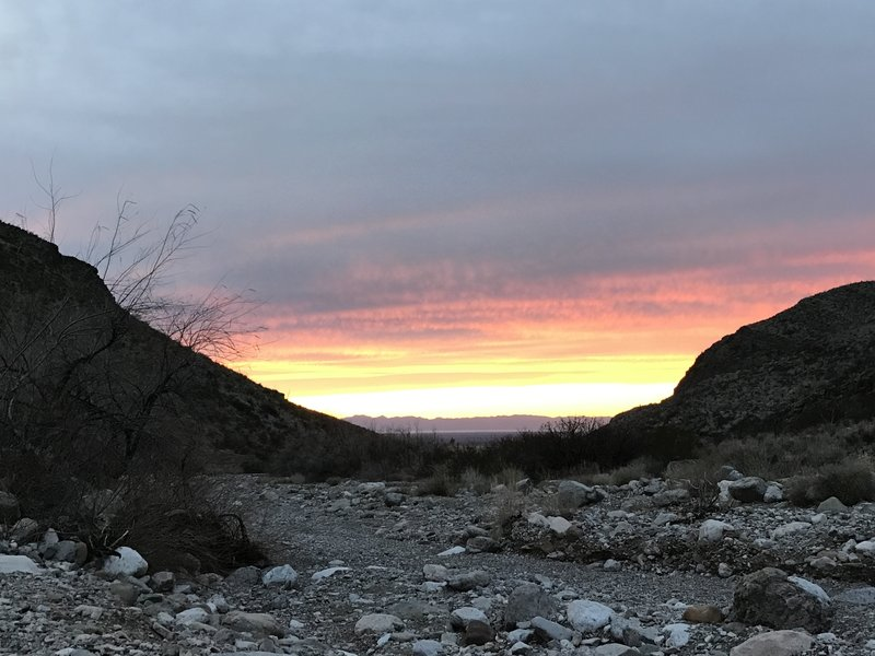 Sunset over the basin and the distant San Andreas Mountains from the arroyo.
