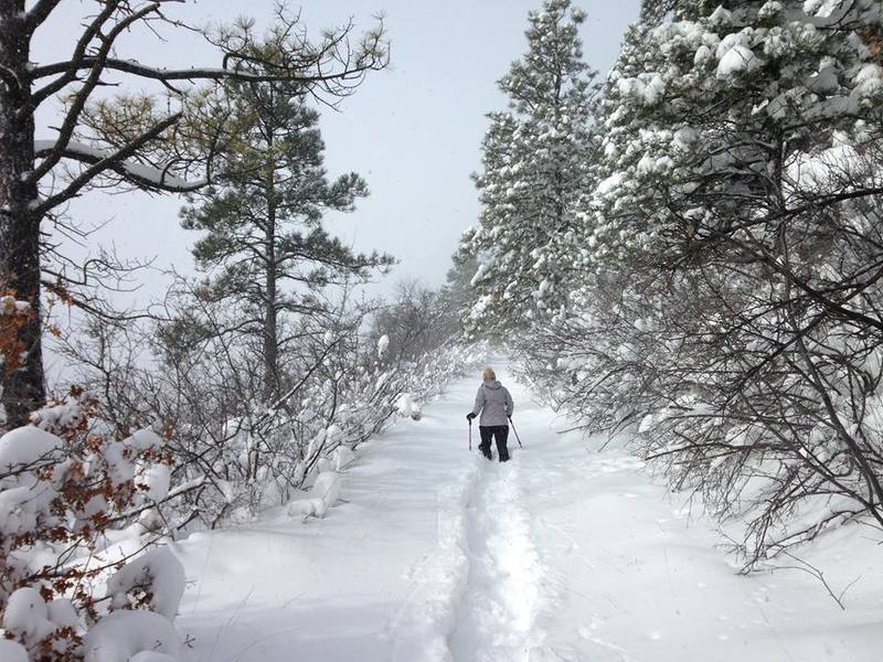 """Snowshoeing after 12-15"""" of fresh snow fell on the mountain."""