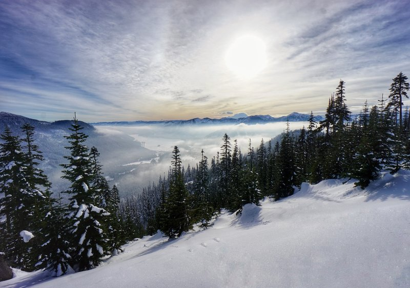 You'll get a gorgeous, southward-looking view of Mt. Rainier and the surrounding Cascades from the top of Kendall Peak Lakes Snowshoe.