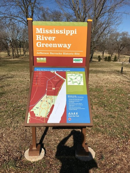 An informative kiosk lives near the entrance to the Mississippi River Greenway at Jefferson Barracks Park.