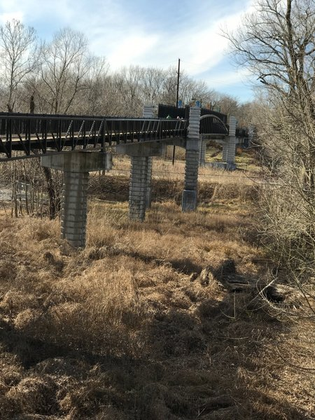 The Mississippi River Greenway travels over this nice bridge near the water's edge.