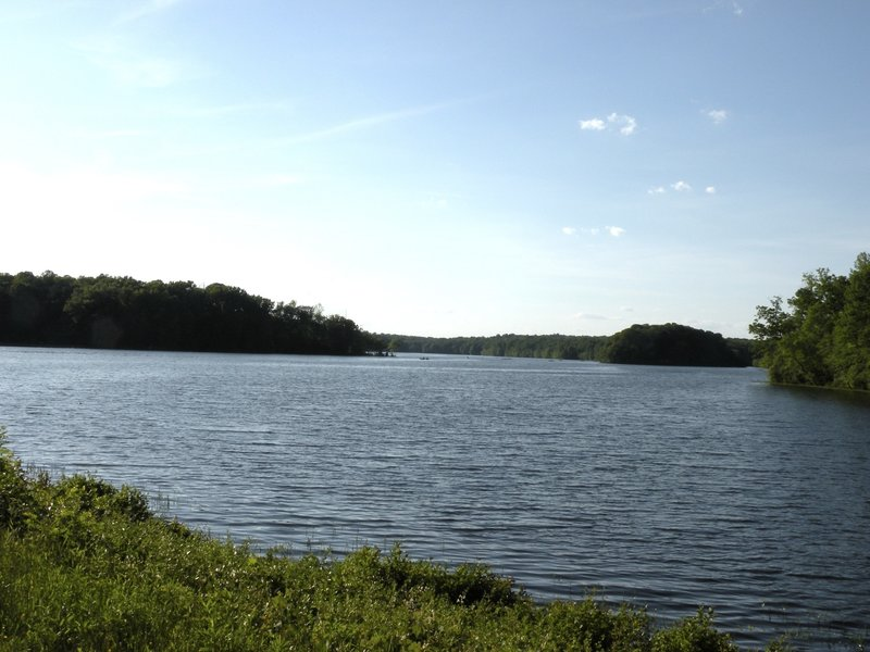 The view of Burke Lake from the dam.