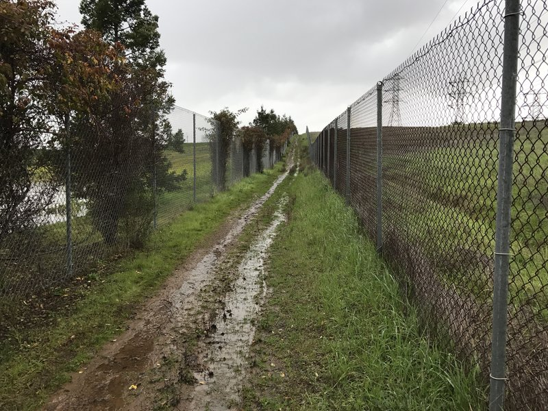 The trail makes its way between two fences as it climbs back up the hill.