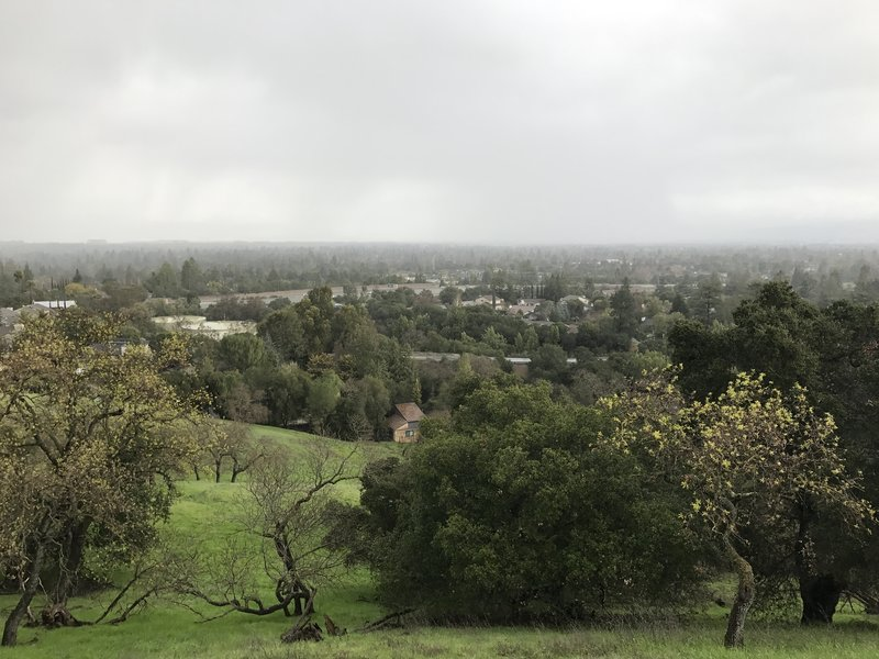 Despite the cloud cover, you get a sense for the view from the hills above Cupertino.