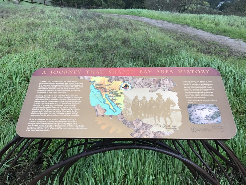 This sign details Juan Bautista de Anza's visit to the area in 1776 and his visit to this very hilltop.