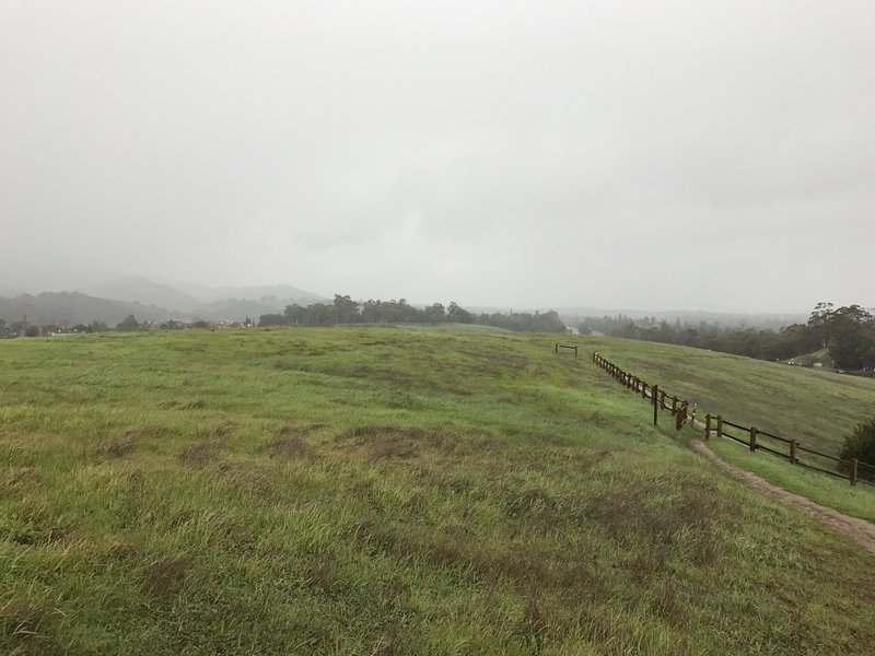 The trail passes through the meadows on this hillside.