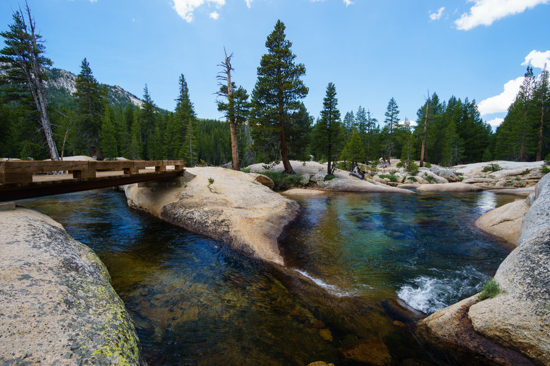 These formations in Lyell Canyon make for great swimming holes along the John Muir Trail in Yosemite National Park.