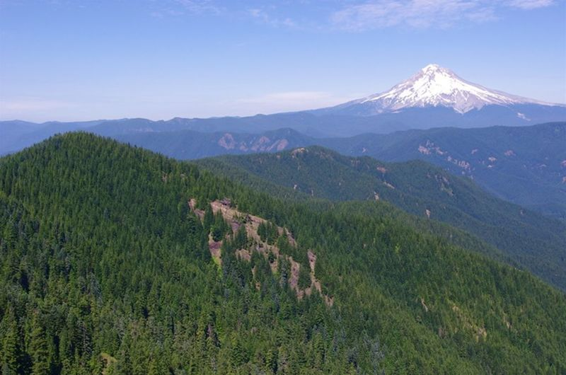 Mt. Hood and Salmon Mountain command the view from Sheepshead Rock on the Plaza Trail. Photo by John Sparks.