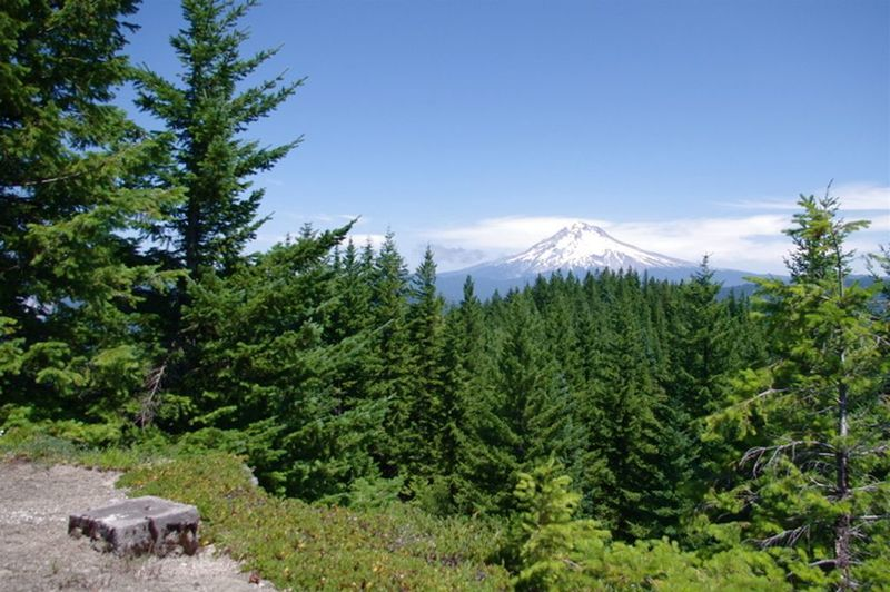 The remnants of the Salmon Mountain Lookout on the Salmon Mountain Trail still provide a gorgeous look at Mt. Hood. Photo by John Sparks.