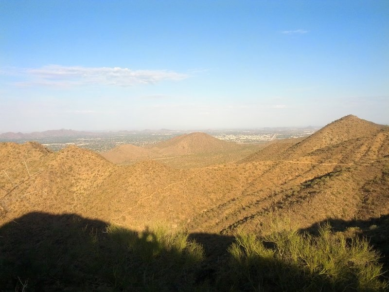 A gorgeous view awaits from the top of the Sunrise Trail. The 136th Street Spur can be seen headed down the mountain.