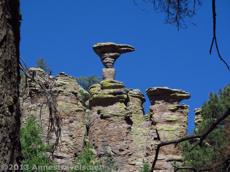 Mushroom Rock stands on a thin pedestal along the Mushroom Rock Trail in Chiricahua.