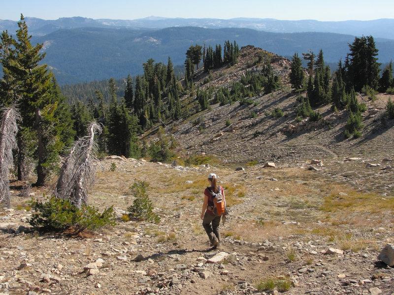 Elizabeth descends the Pyramid Peak - Rocky Canyon Trail.