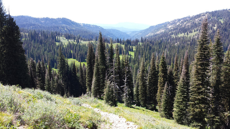 Get ready for a beautiful view of the Rapid Creek drainage from the pass below Boulder Mountain.