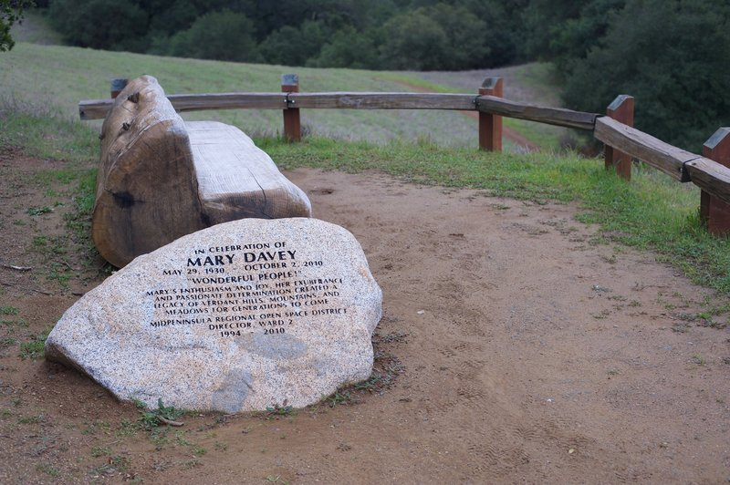 The Mary Davey Memorial is a good place to sit and enjoy the surrounding area.