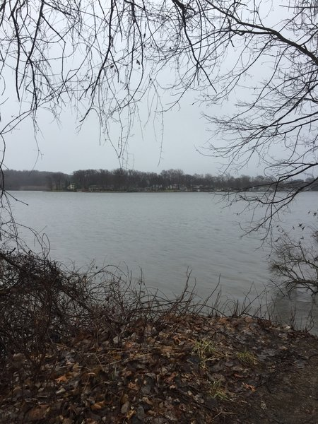 This view across Turkeyfoot Lake can be seen from the end of the peninsula near the beach.