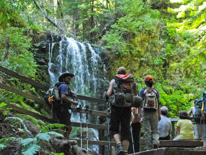 Hikers enjoy the view of Berry Creek Falls.