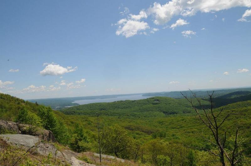 Look southeast from the Timp - Torne Trail for a gorgeous view of the Hudson River.