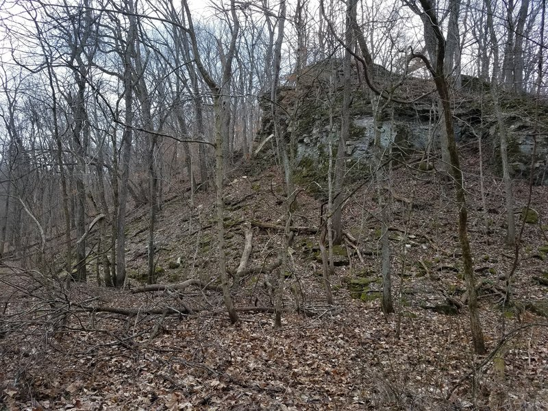 There are more bluffs just south of Bass Creek. You can see more during times when the foliage is down.