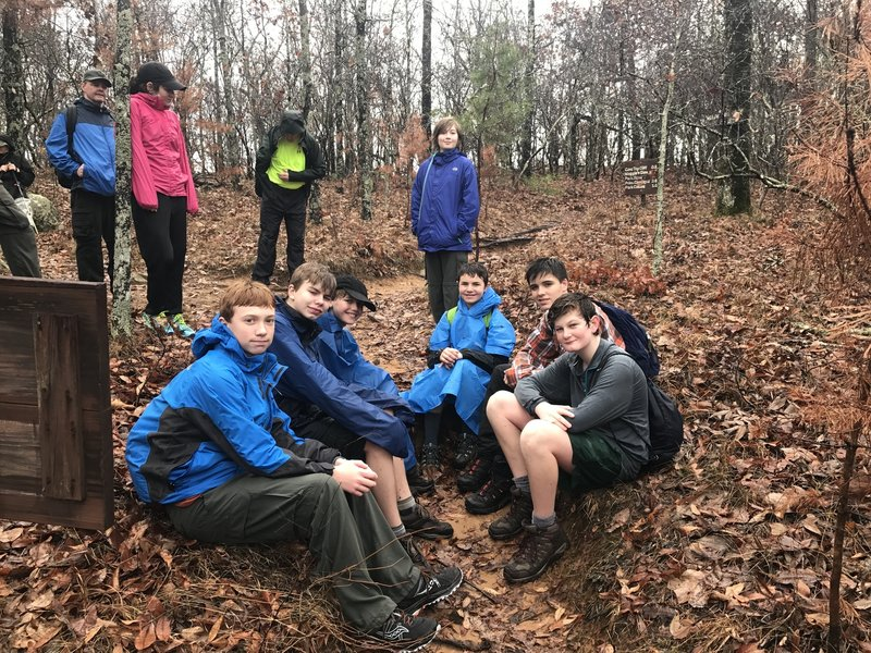 At 17 miles into our hike, the scout troup stops for a rest.