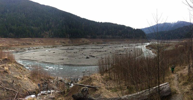 The Elwha River flows alongside the Smokey Bottom (West Lake Mills) Trail.