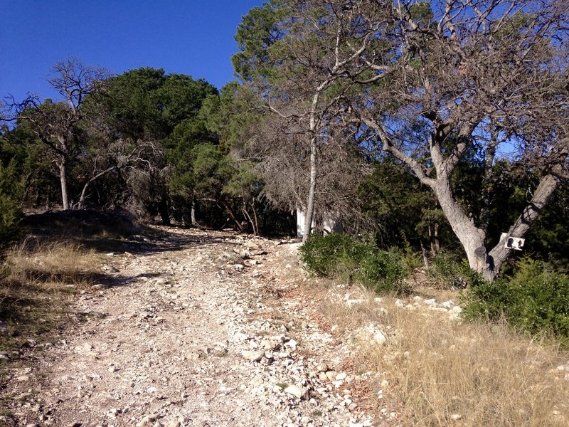 The second entry point to the Boot Trail is located on a moderate climb.