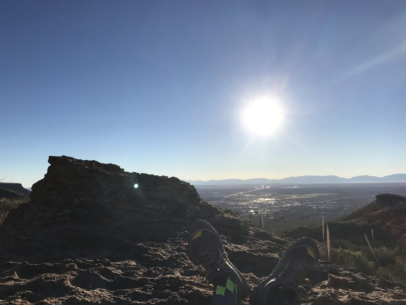 Enjoy a gorgeous view from atop the boulder.