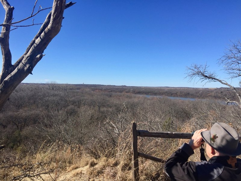 Local birders check out the area's attractions out over the valley. Woodpeckers, blue jays, and cardinals provide frequent company to walks on this trail.