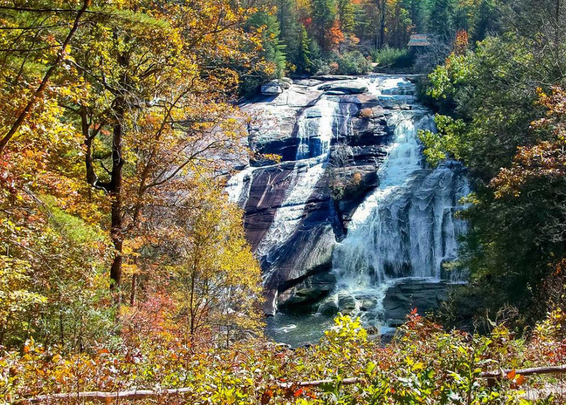 High Falls stands magnificent in the distance from the overlook.