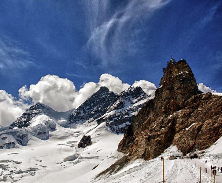 Jungfraujoch stands atop a craggy peak in Switzerland.