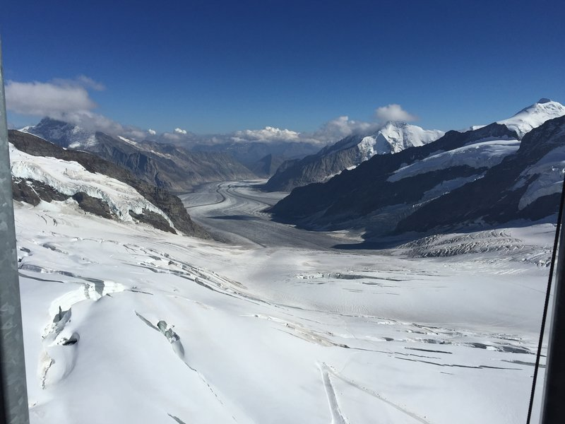 From Jungfraujoch, look south to enjoy this view out over Aletsch Glacier.