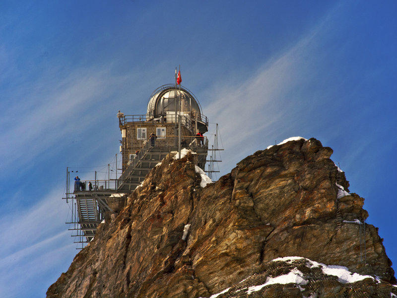 Sphinx Observatory in Jungfraujoch stands anchored to the mountainside.