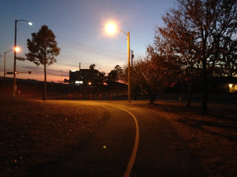 Day or night, the Skelly Bypass Neighborhood Trail offers a pleasant experience along a paved surface.