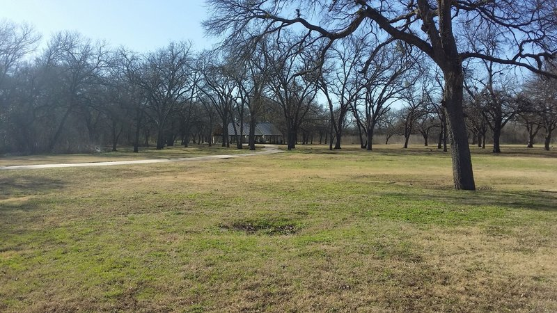The southern entrance to Bob Woodruff Park offers ample space complete with a pavilion and plenty of grass.