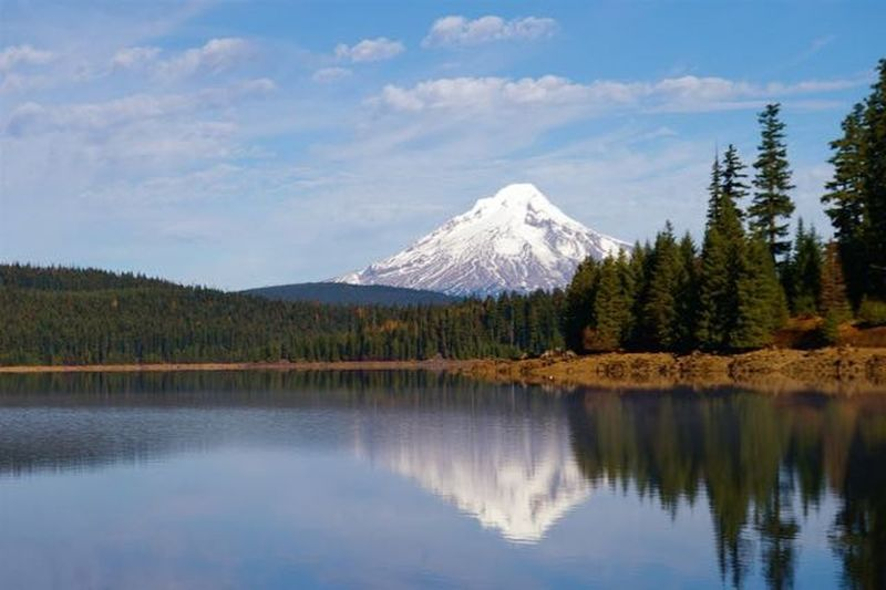 The Cove Day-Use Area, along the Southshore Trail, offers fantastic views of Mt. Hood on a clear day. Photo by John Sparks.