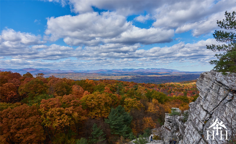 Enjoy this view of the Catskills from the top of the scramble.