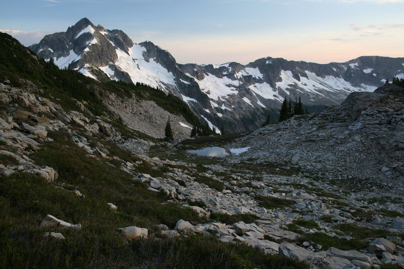 The sun sets over Whatcom Peak.