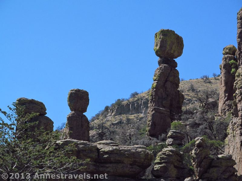 Spires and balancing rocks stand along the Echo Canyon Trail.