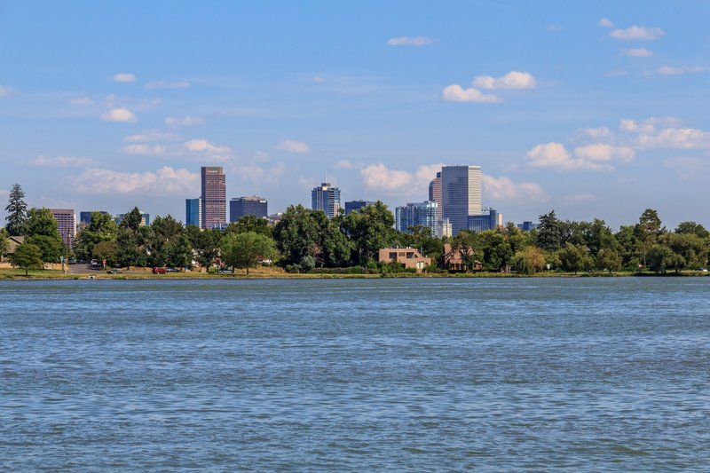Enjoy beautiful views of the Denver skyline from Sloan's Lake Park.