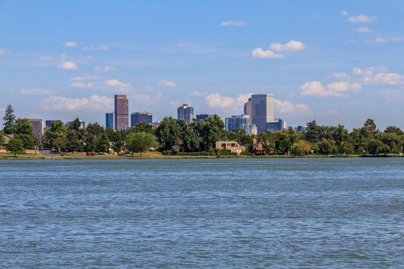 Enjoy beautiful views of the Denver skyline from Sloan's Lake Park.