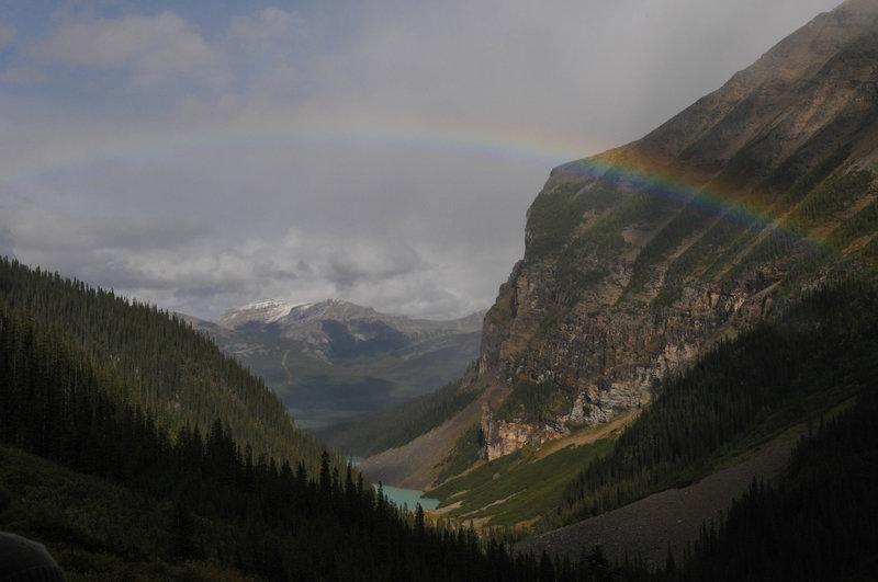 The advantage to sporadic rain: a rainbow over Lake Louise.