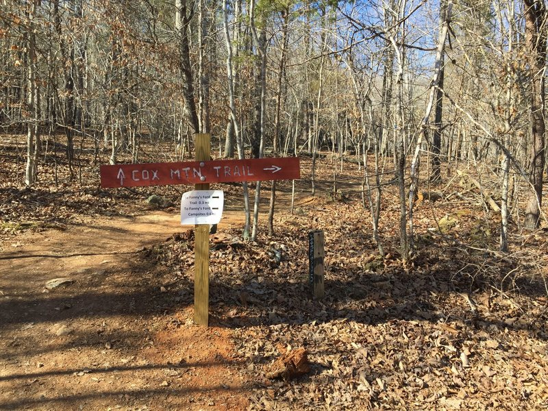 Rerouted Cox Mountain trailhead.