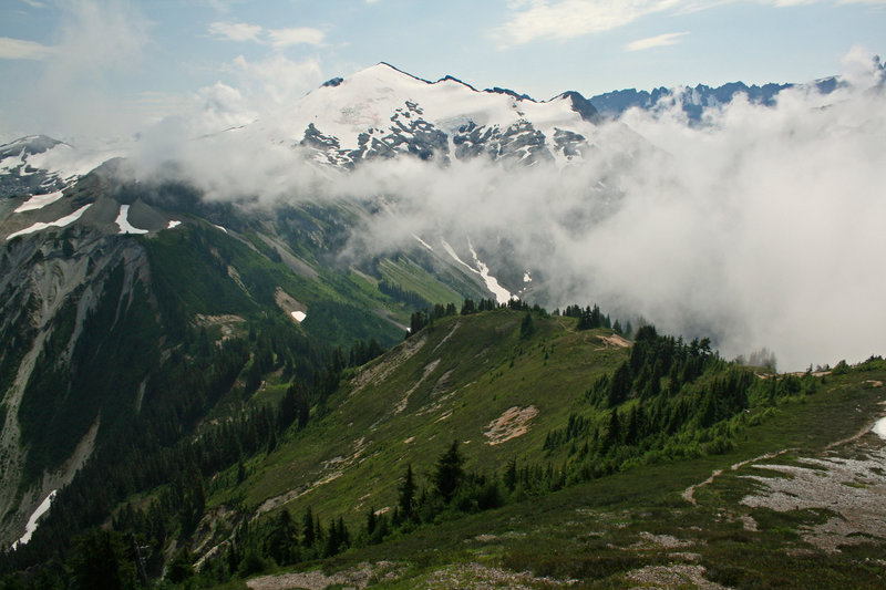 Ruth Mountain peeks through the clouds.