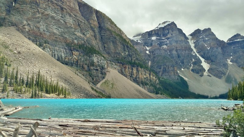 This is Moraine Lake up close. The mountains left-to-right are the base of the Tower of Babel, Mt. Babel, Mt. Fay, and Tonsa Peak.