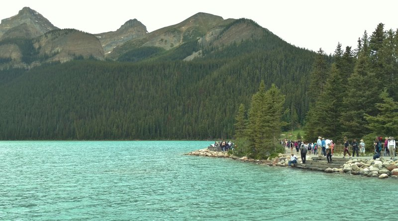Lake Louise is a very popular attraction in the Canadian Rockies.